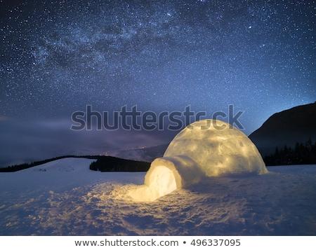 Tél éjszaka tájkép hó jégkunyhó csillagos ég Stock fotó © Kotenko