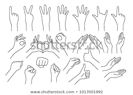 Number One Hand Gesture Line Drawing Stock photo © cteconsulting