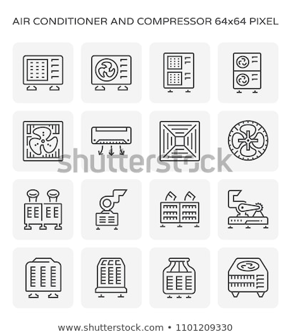climatiseur · croquis · icône · vecteur · isolé · dessinés · à · la · main - photo stock © olllikeballoon