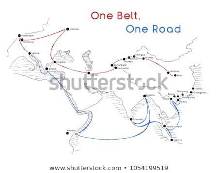 Stockfoto: Een · gordel · weg · nieuwe · zijde · connectiviteit