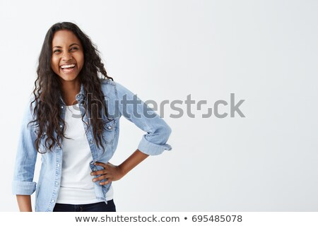 image of pretty brunette woman with long dark hair wearing straw stock photo © deandrobot