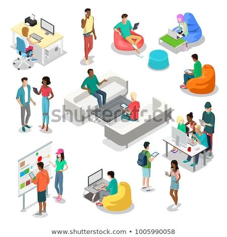 Ayarlamak simgeler ofis okul 3D izometrik Stok fotoğraf © kup1984