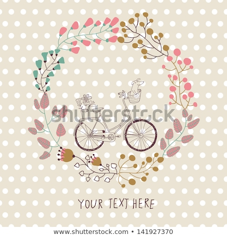 Vector illustration of a Cycling traveller with text foto stock © Giraffarte