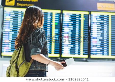 Czasu lotu dziewczyna papierowy samolot nowoczesne kobieta Zdjęcia stock © Genestro