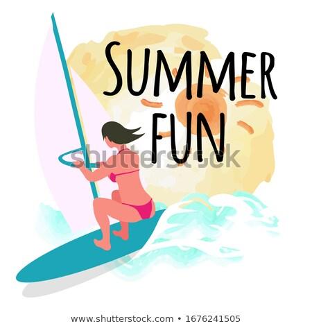 Nyár jókedv képeslap nap windszörf nő Stock fotó © robuart