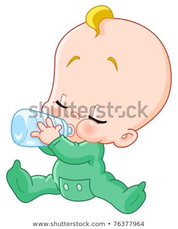 Bebek duş tebrik kartı bebek erkek vektör Stok fotoğraf © robuart