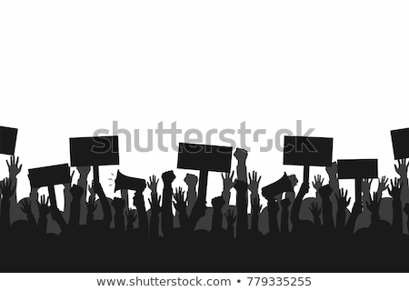 Concept for protest, revolution or conflict. Silhouette crowd of people protesters. Flat vector illu Stock photo © makyzz