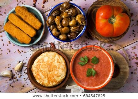 mesa · de · madera · delicioso · verduras · frescas · madera · luz · vidrio - foto stock © nito