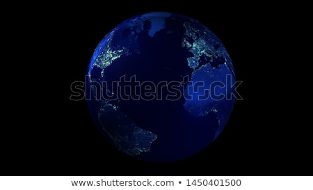The night half of the Earth from space showing North America and Asia. Stock photo © ConceptCafe