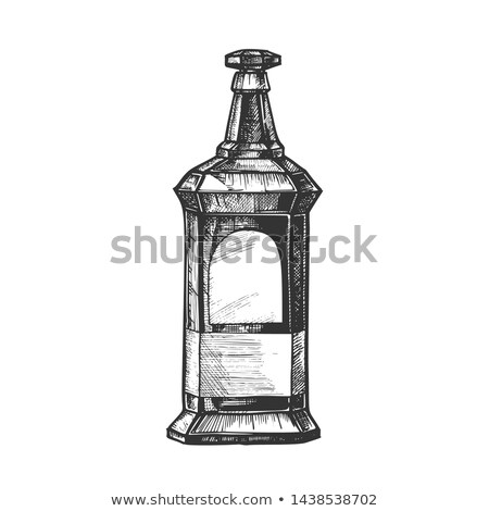 Rectangulaire vintage whisky booze bouteille vecteur Photo stock © pikepicture