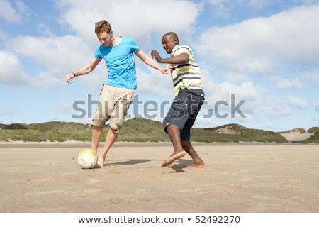 iki · genç · birlikte · plaj · kumu · mutlu · model - stok fotoğraf © monkey_business