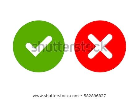 チェック · マーク · 緑 · 赤十字 · ベクトル · ステッカー - ストックフォト © ussr
