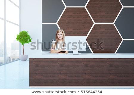 mooie · jonge · zakenvrouw · permanente · kantoor · wachtkamer - stockfoto © boggy