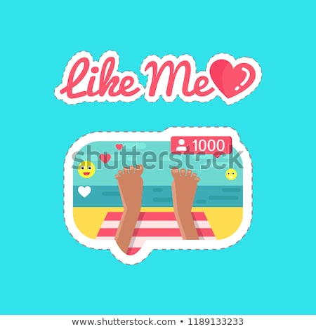 Foto stock: Like Me Social Network And Streams Stickers Vector