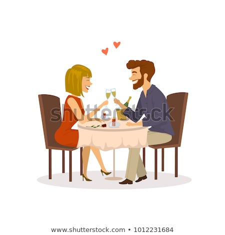 Homme femme date restaurant proposition engagement Photo stock © robuart