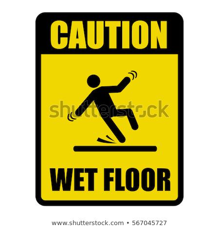 Jaune glissante avertissement sécurité prudence signe Photo stock © smuay