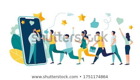 Referral Marketing People Walking into Smartphone Stock photo © robuart