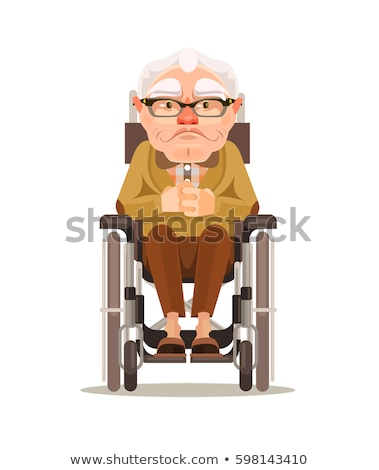 Front view of disabled senior man sitting on wheelchair and looking outside through window at home Stock photo © wavebreak_media