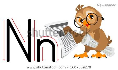 Angol ábécé oktatás bagoly madár tart Stock fotó © orensila