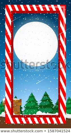 Frame template with fullmoon in winter Stock photo © bluering