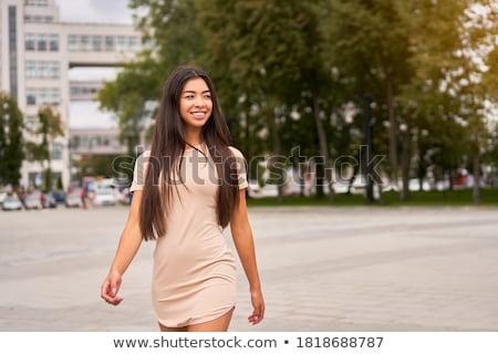Nő elegáns szoros ruházat nyár séta Stock fotó © ElenaBatkova