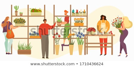 Flower Market Seller at Showcase Isolated Florist Stock photo © robuart