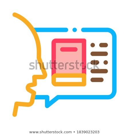 Homem opinião livro ícone vetor Foto stock © pikepicture