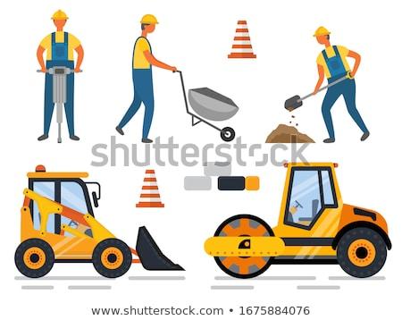 работник дрель бульдозер строительство оборудование Сток-фото © robuart