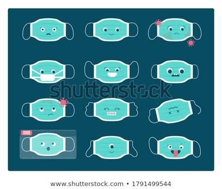 Virus Vorbeugung Set medizinischen Maske Zeichnung Stock foto © clairev