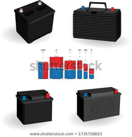 Set of three batteries in different sizes Stock photo © bluering