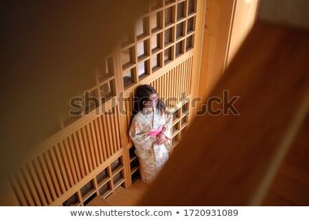 Image charmant geisha femme japonais kimono Photo stock © deandrobot