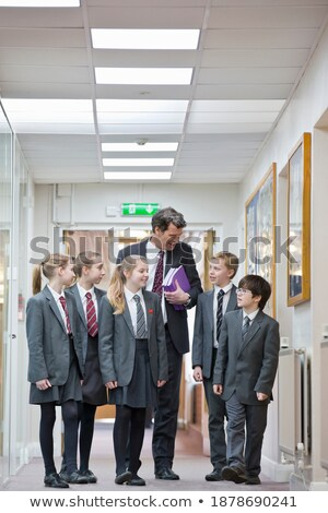 School Girls in Corridor, Interior of Institution Stock photo © robuart