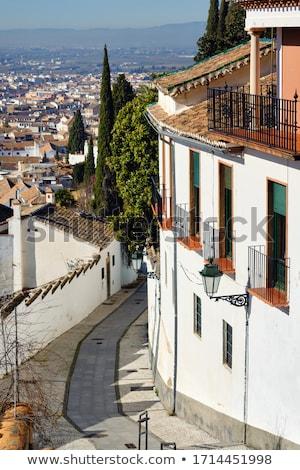 üres keskeny utca üdülőhely város Spanyolország Stock fotó © amok