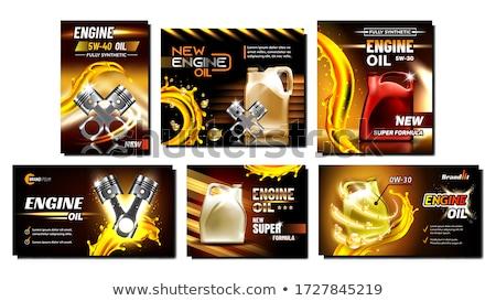 Silnika oleju naprawa samochodów usługi plakaty zestaw Zdjęcia stock © pikepicture