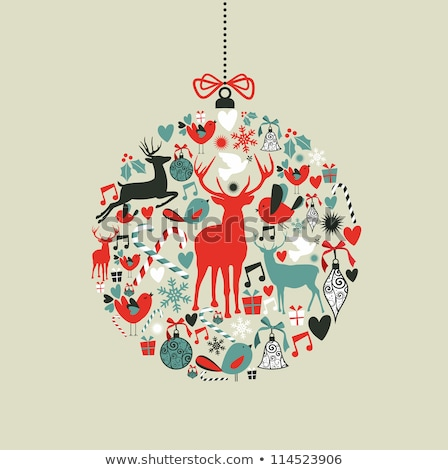 Love Christmas with baubles and heart Stock photo © Eireann