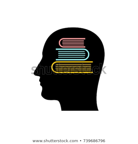 male head silhouette with stack of books   education stock photo © adrian_n