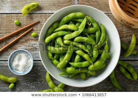 friss · zöld · tálak · szója · bab · só - stock fotó © leeser