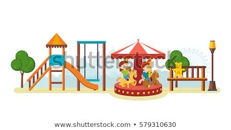 Kislány körhinta lány gyermek farmer játék Stock fotó © phbcz