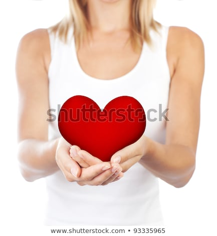 Healthy woman holding heart, selective focus Stock photo © Anna_Om