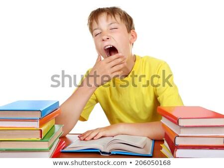 álmos fiú osztályterem kéz gyermek háttér Stock fotó © photography33