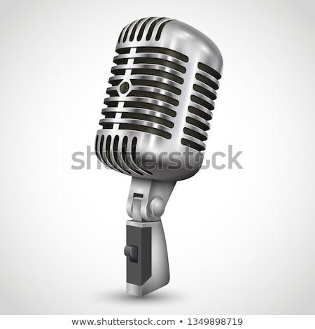 retro · mikrofon · szürke · zene · technológia · fém - stock fotó © artjazz