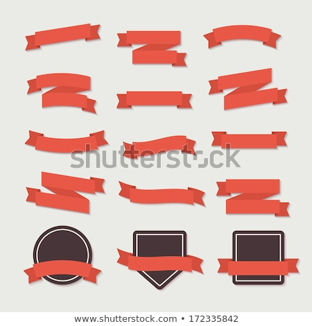 collection of red vector retro ribbons and tags stock photo © orson