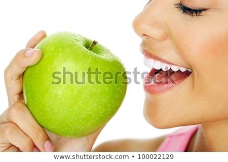 Сток-фото: брюнетка · женщину · яблоко · зеленый · рот