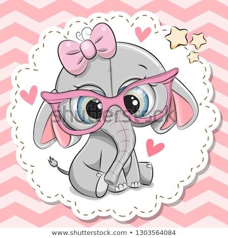 Stock fotó: Elefánt · aranyos · rajz · baba · hatalmas · szemek