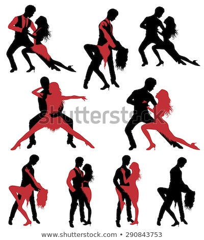 salsa dancers silhouettes set stock photo © kaludov