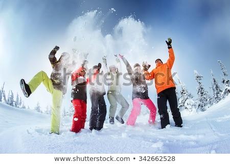 Gülme genç kadın snowboard kar kış eğlence Stok fotoğraf © pumujcl