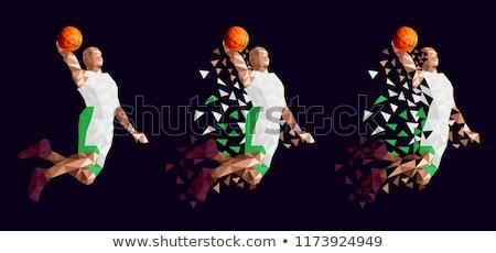 Kosárlabda színek Libanon terv labda sziluett Stock fotó © perysty