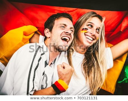 adolescente · casal · futebol · fãs · bonitinho - foto stock © photography33
