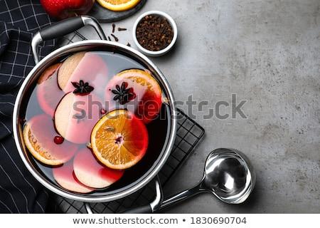 ストックフォト: ワイン · 果物 · ガラス · シナモンスティック · スライス · オレンジ