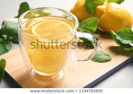 Forró citrom ital üveg bögre fa Stock fotó © IngaNielsen